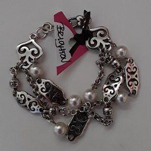 Brighton Jewelry - BRIGHTON Scroll  & Pearl Silver Bracelet GENEVA